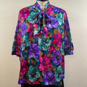 PLUS SIZE 80's Vintage Pink Purple Green Brown Floral Polyester Bow Neck Blouse